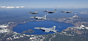 F-18 Photo Prints - A Five Ship Aircraft Formation Flies Print by HIGH-G Productions