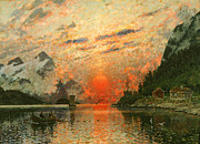 Norwegian Sunset Paintings - A Fjord by Adelsteen Normann