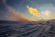 Snow Scape Framed Prints - A Flare Test Of A Gas Well Is Conducted Framed Print by O. Louis Mazzatenta
