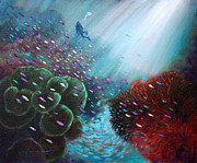 Coral Reef Paintings - A Flash of Color by John Lautermilch