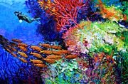 Scuba Painting Prints - A Flash of Life and Color Print by John Lautermilch