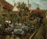Bending Over Framed Prints - A Flemish Garden Framed Print by Henri de Braekeleer