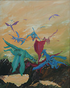 Dragons Framed Prints - A Flight of Dragons Framed Print by Gail Daley