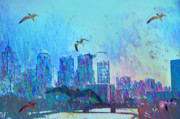 Flying Seagulls Art - A Flock of Seagulls by Bill Cannon