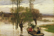 Homeless Painting Posters - A Flood Poster by Leon Augustin Lhermitte