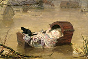 Flooding Posters - A Flood Poster by Sir John Everett Millais