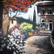 Villa Paintings - A Florence Villa by Lisa Ivey