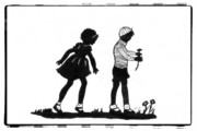 Boy And Girl Drawings - A Flower for You by Patricia Montgomery