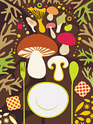 Mushroom Digital Art - A Fork, Plate And Spoon And An Assortment Of Mushrooms by Yulia Drobova