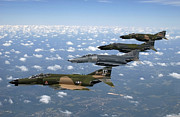 Us Air Force Prints - A Formation Of F-4 Phantom Ii Fighter Print by Stocktrek Images