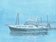 Maine Drawings Originals - A Fortier Docked in Maine by Dominic White