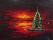 Sailboat Paintings - A Fraction of His Masterpiece by Darlene Keeffe