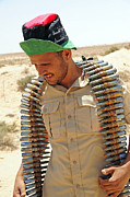 Intervention Metal Prints - A Free Libyan Army Soldier With An Metal Print by Andrew Chittock