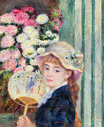 Fan Metal Prints - A French Girl with a Fan Metal Print by Pierre Auguste Renoir