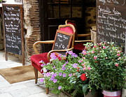 Provence Village Framed Prints - A French Restaurant Greeting Framed Print by Lainie Wrightson