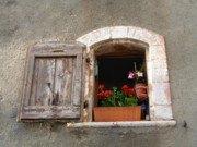 French Photo Originals - A French Window with flowers by Jonathan Galente