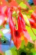 Abstract Columbine Prints - A Fresh Look at Spring Print by Julie Lueders 