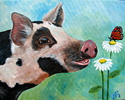 Pig Paintings - A friend for Pippy by Laura Carey