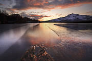 Sunset In Norway Metal Prints - A Frozen Straumen Lake On Tjeldoya Metal Print by Arild Heitmann