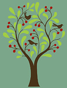 The Natural World Prints - A Fruit Tree With Birds In It On A Green Background Print by Teresa Woo-Murray