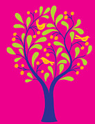 Featured Art - A Fruit Tree With Birds In It On A Pink Background by Teresa Woo-Murray