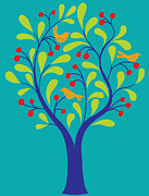 The Natural World Prints - A Fruit Tree With Birds In It On A Turquoise Background Print by Teresa Woo-Murray