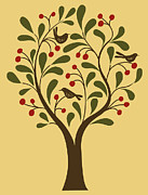 The Natural World Prints - A Fruit Tree With Birds In It On A Yellow Background Print by Teresa Woo-Murray