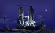 Art Mobile Digital Art - A Futuristic Space Shuttle Awaits by Walter Myers