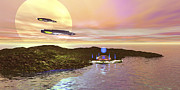 Island Imagination Prints - A Futuristic World On Another Planet Print by Corey Ford
