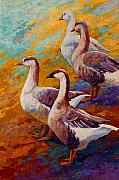 Roosters Posters - A Gaggle Of Four - Geese Poster by Marion Rose