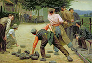 Hurl Prints - A Game of Bourles in Flanders Print by Remy Cogghe