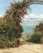 Rosebush Posters - A Garden by the Sea  Poster by Frank Topham