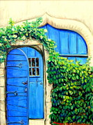 French Door Paintings - A Garden Enclosed Provence Series by Monique Kendikian-Sarkessian