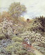 Picturesque Painting Prints - A Garden in Spring Print by Helen Allingham