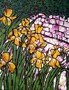 Yellow Tapestries - Textiles Posters - A Garden of Irises Batik Poster by Kristine Allphin