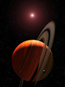 Giants Posters - A Gas Giant Planet Orbiting A Red Dwarf Poster by Stocktrek Images