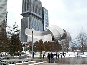Frank Gehry Prints - A Gehry Winter Print by David Bearden