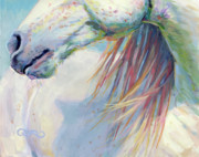 White Horse Painting Originals - A Gentle Breeze by Kimberly Santini