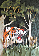 Tiger Reliefs Framed Prints - A Gentle Warning Framed Print by John Hebb