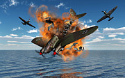 Blowing Up Framed Prints - A German Heinkel Bomber Crashes Framed Print by Mark Stevenson