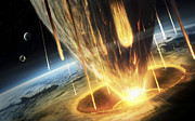 Fireball Posters - A Giant Asteroid Collides Poster by Tobias Roetsch
