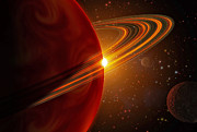 Disc Posters - A Giant Planet Orbiting The Sun-like Poster by Stocktrek Images