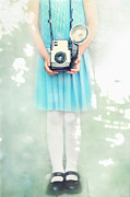 Knitted Dress Posters - A Girl and Her Camera Poster by Stephanie Frey