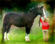 Horse Digital Art - A Girl and Her Horse by Davandra Cribbie
