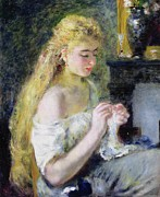 Bare Shoulder Metal Prints - A Girl Crocheting Metal Print by Pierre Auguste Renoir