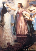 A Girl Feeding Peacocks Print by Frederic Leighton