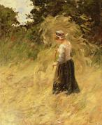 Haystack Paintings - A Girl Harvesting Hay by Eugene Leon Labitte