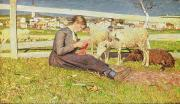 Pasture Scenes Metal Prints - A Girl Knitting Metal Print by Giovanni Segantini