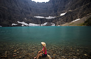 Many Glacier Photos - A Girl Wearing Cowboy Hat Enjoys by Michael Hanson