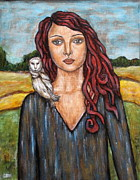 Rain Ririn  Paintings - A girl with the Owl by Rain Ririn